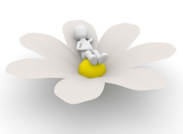 A 3D character relax on a big flower.